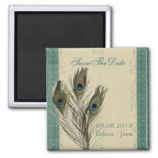 reserva floral del pavo real del verde elegante iman de nevera