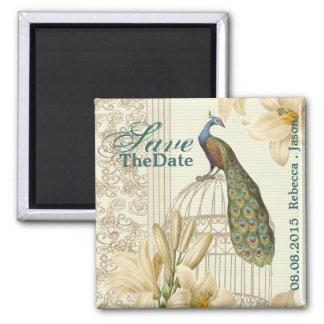 reserva floral del pavo real del vintage elegante iman de nevera