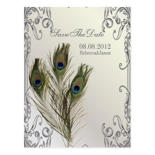 reserva floral del pavo real del vintage elegante  tarjeta postal