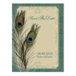 reserva floral del pavo real del vintage elegante  postal