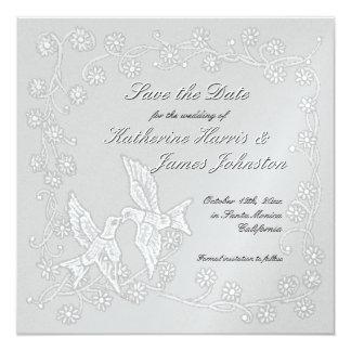 """Reserva floral del platino del cordón la invitación 5.25"""" x 5.25"""""""