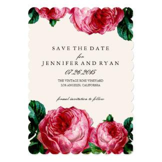 """Reserva floral del rosa del vintage la fecha invitación 5"""" x 7"""""""