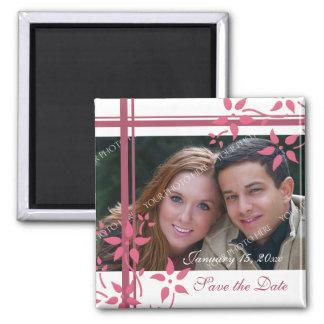 Reserva floral del rosa y blanca de la foto el imán cuadrado