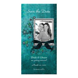 Reserva floral del trullo elegante las tarjetas de tarjetas fotográficas personalizadas