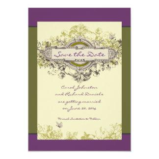 """Reserva floral del vintage verde la tarjeta de invitación 5"""" x 7"""""""