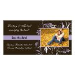 Reserva floral el boda de la fecha - púrpura tarjeta fotográfica personalizada