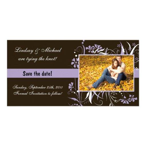 Reserva floral el boda de la fecha - púrpura tarjeta fotografica personalizada