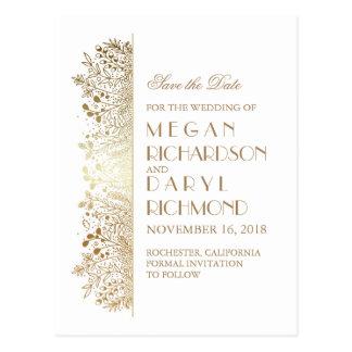 Reserva floral elegante afiligranada del oro la postales