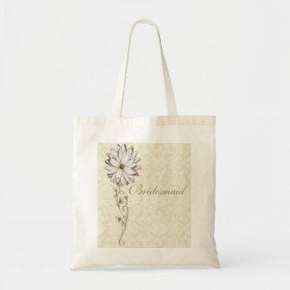 Reserva floral elegante el diseño de la fecha bolsa lienzo