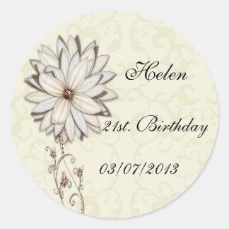 Reserva floral elegante el diseño de la fecha pegatina redonda