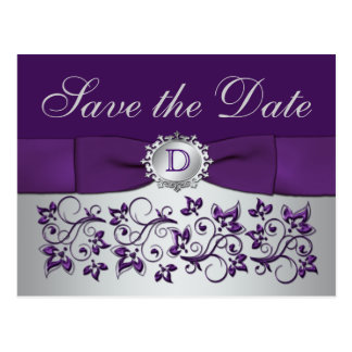 Reserva floral gris púrpura del monograma la tarjeta postal