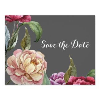 Reserva floral gris y púrpura bohemia las tarjetas invitación 10,8 x 13,9 cm