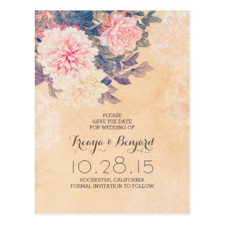 Reserva floral la fecha con los peonies rosados postales