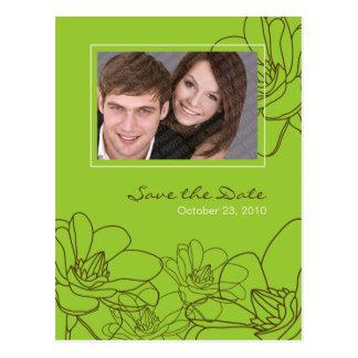 Reserva floral moderna del boda el verde y el tarjeta postal