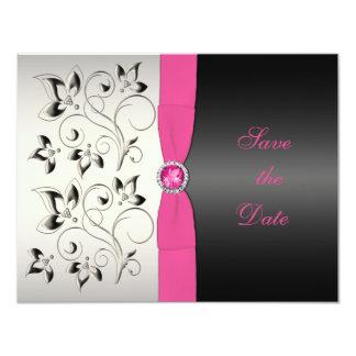 Reserva floral negra rosada la tarjeta de fecha invitacion personalizada
