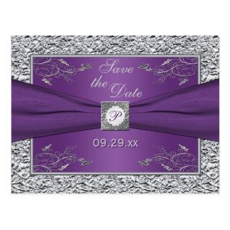 Reserva floral púrpura y de plata la tarjeta de tarjeta postal