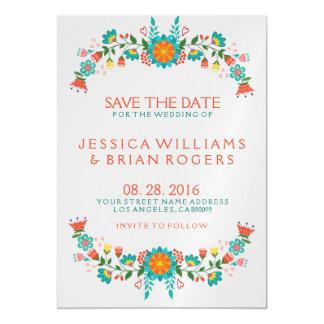 Reserva floral retra colorida del marco la fecha invitaciones magnéticas