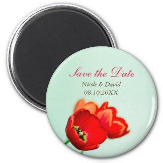 Reserva floral roja de la invitación del tulipán d imanes de nevera