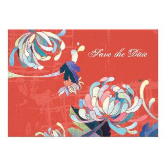 Reserva floral roja del boda de las momias elegant