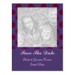 Reserva floral roja púrpura la fecha postal