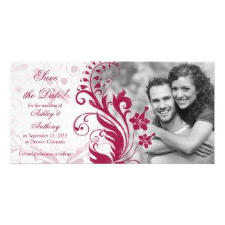 Reserva floral roja y blanca del boda la fecha tarjeta con foto personalizada