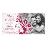 Reserva floral roja y blanca del boda la fecha tarjetas fotográficas