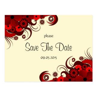 Reserva floral roja y blanca las invitaciones de tarjetas postales