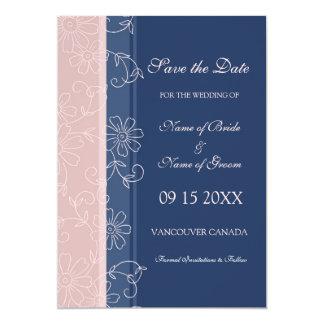 Reserva floral rosada azul del boda de la foto la invitación 12,7 x 17,8 cm
