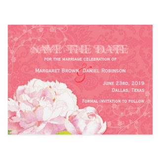 Reserva floral rosada coralina de moda las postale postal
