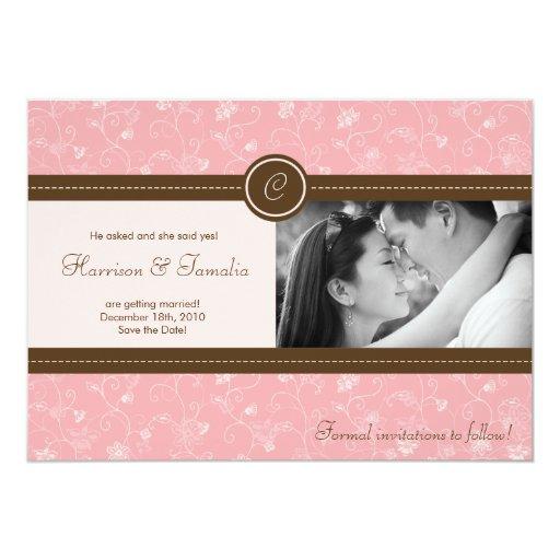 reserva floral rosada de la foto 5x7 la invitación