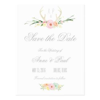 Reserva floral rosada de las astas el | la fecha tarjeta postal