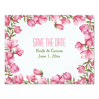 """Reserva floral rosada del marco de la acuarela las invitación 4.25"""" x 5.5"""""""