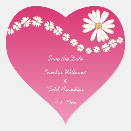 Reserva floral rosada el pegatina de la fecha