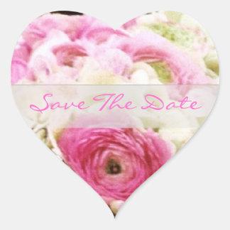 Reserva floral rosada el pegatina del boda del