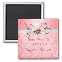 Reserva floral rosada elegante del damasco de la imán cuadrado
