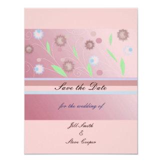 """Reserva floral rosada elegante la fecha invitación 4.25"""" x 5.5"""""""