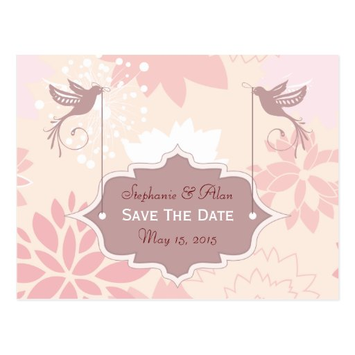 Reserva floral rosada la postal de la fecha