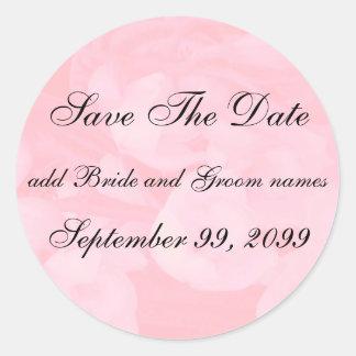 Reserva floral rosada los recordatorios de la pegatina redonda