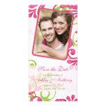Reserva floral rosada, verde, blanca de la foto la tarjeta con foto personalizada