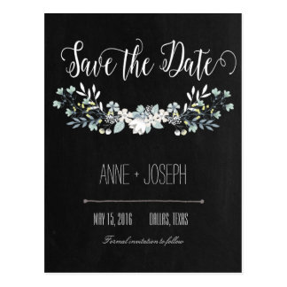Reserva floral rústica de la oscuridad la fecha tarjeta postal