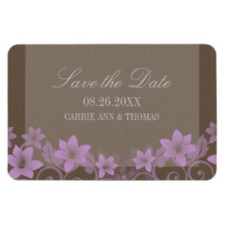 Reserva floral rústica el imán de la fecha, lila