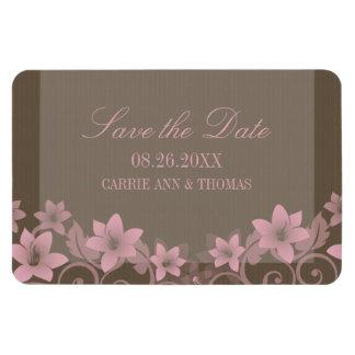 Reserva floral rústica el imán de la fecha, rosado