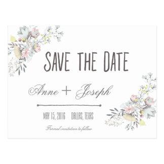 Reserva floral rústica la fecha II Tarjetas Postales