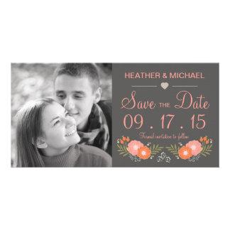 Reserva floral rústica la fecha tarjeta fotografica
