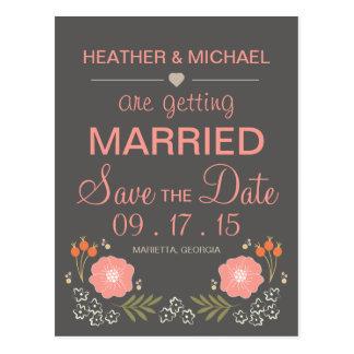Reserva floral rústica la fecha tarjetas postales