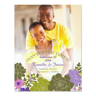 Reserva floral suculenta elegante la tarjeta de invitación 10,8 x 13,9 cm