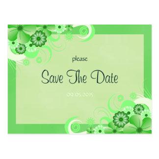 Reserva floral verde clara la tarjeta de la tarjetas postales
