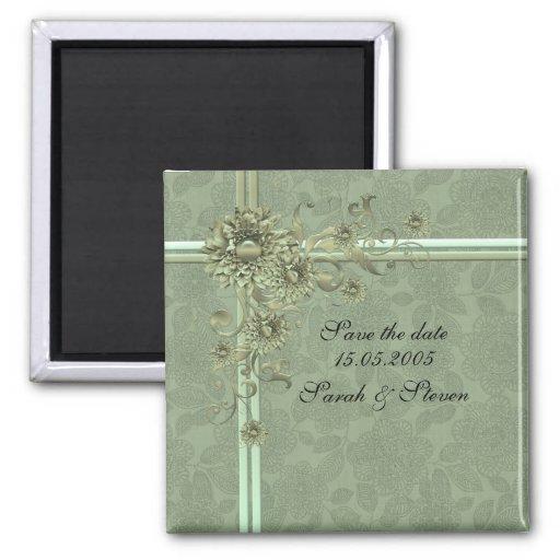Reserva floral verde de lujo del damasco la fecha imán cuadrado