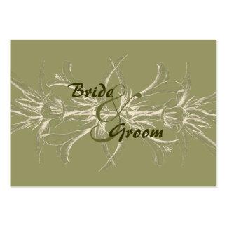 Reserva floral verde oliva antigua la fecha tarjetas de visita grandes