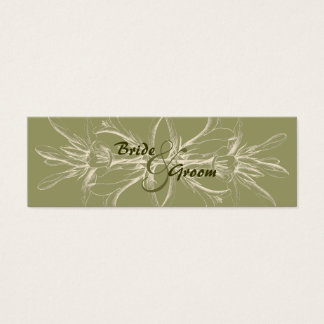 Reserva floral verde oliva antigua la fecha tarjeta de visita pequeña